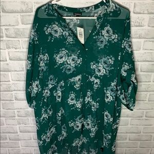 💚BRAND NEW💚 Green Floral Babydoll Tunic